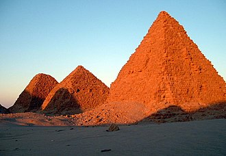 Pyramids of Nuri, built between the reigns of Taharqa (circa 670 BC) and Nastasen (circa 310 BC). Pyramids of Nuri (cropped).jpg