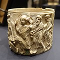 Pyx with Christ performing miracle healing, view 1, Eastern Mediterranean, c. 500 AD, ivory - Hessisches Landesmuseum Darmstadt - Darmstadt, Germany - DSC00333.jpg