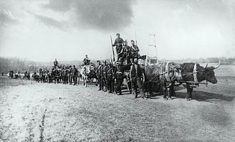 North-West Rebellion - The Canadian Militia on the march towards the conflict, near the Qu'Appelle Valley.