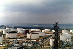 Fawley Refinery - Oil storage tanks at Fawley