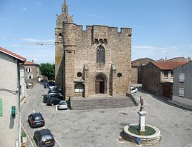 The 14th century fortified church in Quintenas