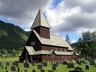 Odda - View of Røldal Stave Church