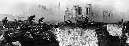 The Battle of Stalingrad is considered by many historians as a decisive turning point of World War II. RIAN archive 44732 Soviet soldiers attack house.jpg