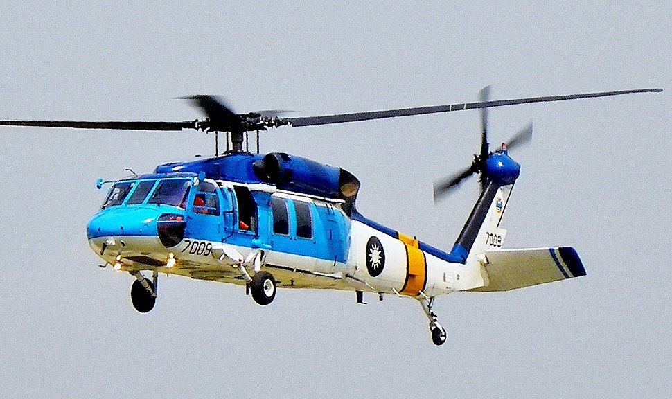 ROCAF S-70C Flying above Songshan Air Force Base (cropped)