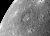 A photo of Mercury with Rachmaninoff crater centered