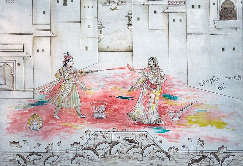 File:Radha and Krishna playing Holi.jpg