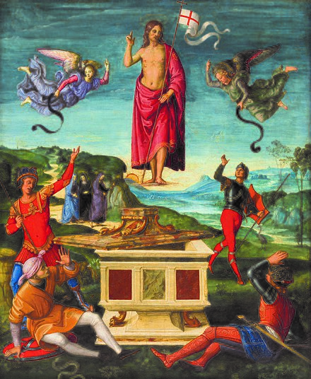 Resurrection of Jesus Christ (Kinnaird Resurrection) by Raphael, 1502 Rafael - ressureicaocristo01.jpg