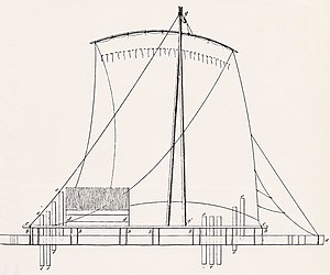 Raft - Sketch by F.E. Paris (1841) showing construction of a native Peruvian balsa raft