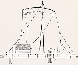 Pre-Columbian rafts - A Peruvian raft in 1841. The square sail and straight mast may reflect Spanish influence.
