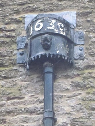 Dowsby Hall - Rainwater head, Dowsby Hall dated 1630
