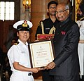 Ram Nath Kovind presenting the Nari Shakti Puruskar for the year 2017 to Navika Sagar Parikrama - INSV Tarini Team (Jointly), at a function, on the occasion of the International Women's Day, at Rashtrapati Bhavan.jpg