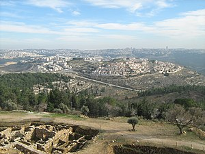 Ramot, Jerusalem - View of Ramot from the Tomb of Samuel. Part of the ruins are visible in the bottom left.