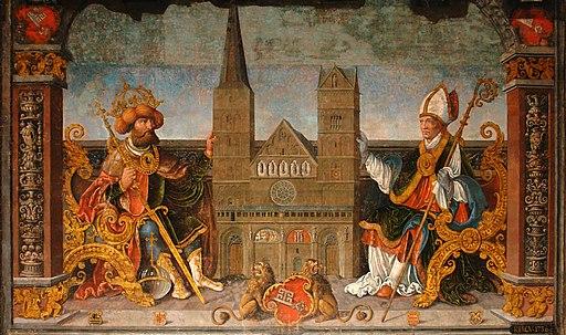Kaiser Karl der Große und Bischof Willehad. Gemälde von Bartholomäus Bruyn; Obere Rathaushalle im Alten Rathaus Bremen