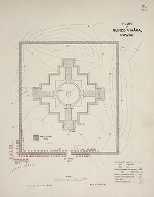 Rawak Stupa - Stein's Plan of Rawak Stupa