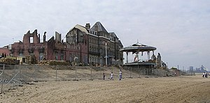 Atonement (film) - Original film set, August 2006; Redcar's beach was the site of the Dunkirk beach sequence and stood in for Bray-Dunes