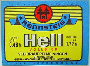 Fucking Hell - Many German beer brands combine a geographical name with Hell, for example, Rennsteig Hell (East Germany)