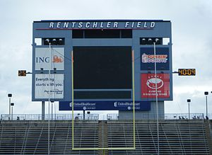 Pratt & Whitney Stadium at Rentschler Field - Rentschler Field scoreboard in 2010 ( Replaced with $1.7 mil, 28 ft X 73 ft w/ 15 HD pixel board in 2013)