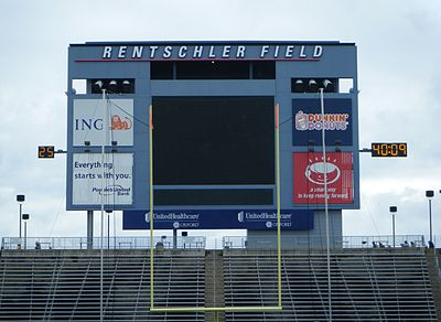 Rentschler Field scoreboard in 2010 ( Replaced with $1.7 mil, 28 ft X 73 ft w/ 15 HD pixel board in 2013) Rentschler Field Scoreboard.jpg