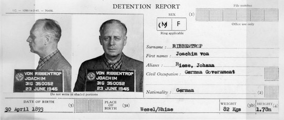 Joachim von Ribbentrop detention report and mugshots RibbentropDetentionReport.png