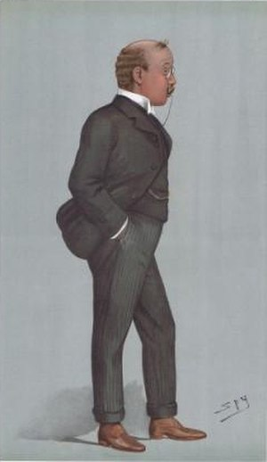 """Lord Richard Cavendish (1871–1946) - """"North Lancashire"""" Cavendish as caricatured by Spy (Leslie Ward) in Vanity Fair, April 1900"""