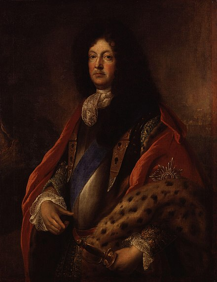 Talbot in later life, attributed to Francois de Troy; by the late 1680s he was increasingly ill, possibly with bouts of osteomyelitis following an earlier injury. Richard Talbot, Earl of Tyrconnel by Francois de Troy.jpg