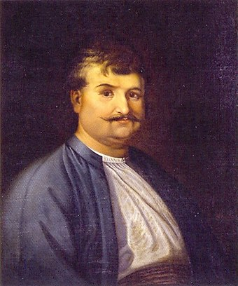 Rigas Feraios (d. 1798), intellectual and revolutionary, is regarded as a forerunner of the Greek Revolution. Rigas Feraios 01.jpg