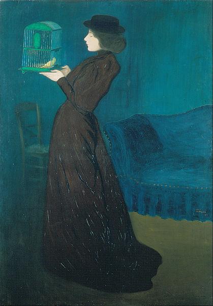 """> Oeuvre onirique """"Femme avec une cage à oiseau"""" de József Rippl-Rónai."""