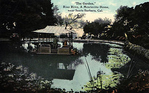 Elizabeth Eaton Burton - Postcard of the lotus garden and floating Japanese teahouse on the Montecito, California, estate of Riso Rivo, designed by Elizabeth Eaton Burton's father Charles Frederick Eaton.