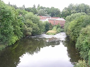 River Mersey, Stockport. Looking downstream fr...