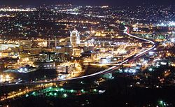 Roanoke, Virginia as seen at night from the Mill Mountain Star.