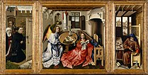 """Robert Campin - Triptych with the Annunciation, known as the """"Merode Altarpiece"""" - Google Art Project.jpg"""