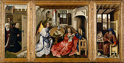"Robert Campin - Triptych with the Annunciation, known as the ""Merode Altarpiece"" - Google Art Project"