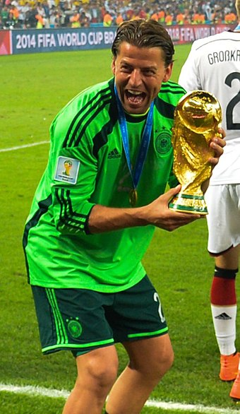 The FIFA World Cup is the largest international competition in association football Roman Weidenfeller World Cup 2014.jpg