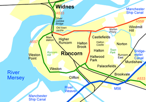 Sketch map of Runcorn, Cheshire, showing railways.