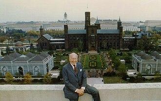 Sidney Dillon Ripley - Ripley in front of the Smithsonian Quadrangle Complex