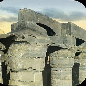 Great Hypostyle Hall - Egypt - Karnak. Capitals in the Great Hall., n.d., This slide colored by Joseph Hawkes. Brooklyn Museum Archives.