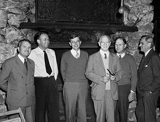Lyman James Briggs - S-1 Executive Committee at the Bohemian Grove, September 13, 1942. From left to right are Harold C. Urey, Ernest O. Lawrence, James B. Conant, Lyman J. Briggs, E. V. Murphree and Arthur Compton