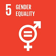 Logo combining the male and female symbols and an equal sign in the centre to denote gender equality, as used in the fifth Sustainable Development Goal which addresses Gender Equality