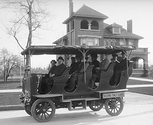 Tour bus service - Early tour bus in Salt Lake City, 1909