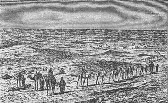 "Camel train - ""Caravan Approaching a City in the Vast Desert of Sahara"", from: Stanley and the White Heroes in Africa, by H. B. Scammel, 1890"