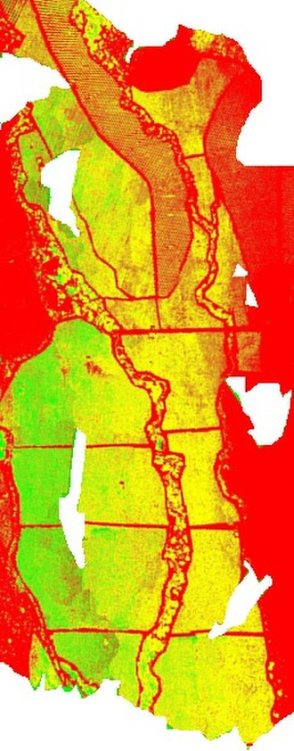 Precision agriculture - NDVI image taken with small aerial system Stardust II in one flight (299 images mosaic)