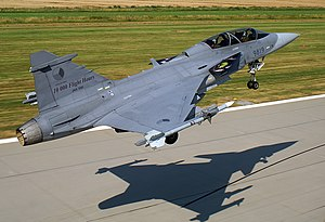 Saab JAS-39 Gripen of the Czech Air Force taking off from AFB Čáslav.jpg