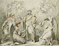 Saint Joseph tenant l'Enfant Jésus adoré par des anges.jpg