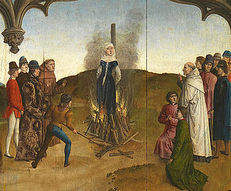 Richardis - Richardis undergoing ordeal by fire.  Painting by Dierec Bouts.