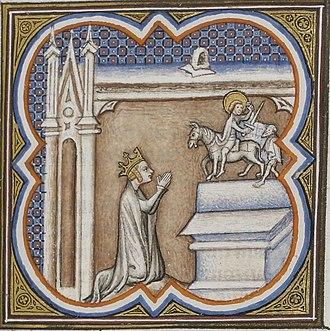 Clotilde - St Clotilde at prayer (illuminated initial)