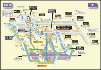 Sakae station map Nagoya subway's Meijo line 2014.png