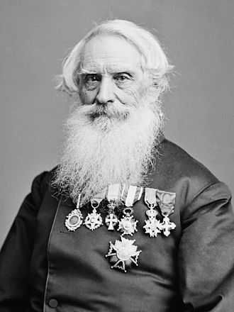 Order of Isabella the Catholic - Samuel Morse wearing the knight's cross (fourth from left) and the Grand Cross of the Order (bottom), 1866