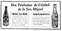 A Spanish-language poster advertising beverages produced by the San Miguel Brewery, including the first Royal tru-Orange.