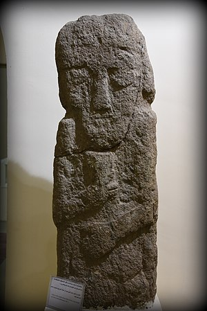 Musasir - Sandstone statue of a man or deity. The statue belonged to the Musasir Kingdom. Urartian period, 1st millennium BCE. Precise provenance of excavation is unknown. Erbil Civilization Museum, Iraqi Kurdistan.