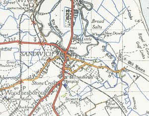 Sandwich, Kent - A map of Sandwich from 1945